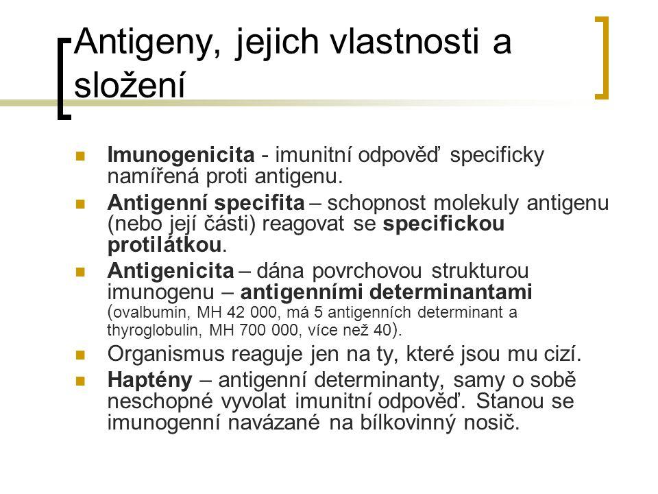 Antigeny, jejich vlastnosti a složení Imunogenicita - imunitní odpověď specificky namířená proti antigenu. Antigenní specifita – schopnost molekuly an