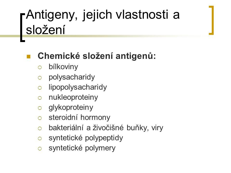 Antigeny, jejich vlastnosti a složení Chemické složení antigenů:  bílkoviny  polysacharidy  lipopolysacharidy  nukleoproteiny  glykoproteiny  steroidní hormony  bakteriální a živočišné buňky, viry  syntetické polypeptidy  syntetické polymery