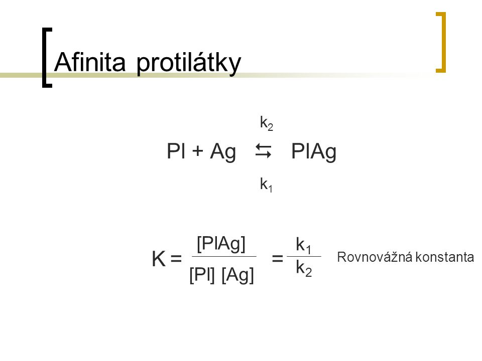 Afinita protilátky k 2 Pl + Ag  PlAg k 1 K = = [PlAg] [Pl] [Ag] k1k1 k2k2 Rovnovážná konstanta