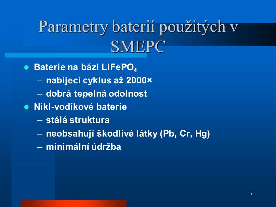 Parametry baterií použitých v SMEPC Baterie na bázi síranu sodného (NaS) –vyvinul Ford v r.