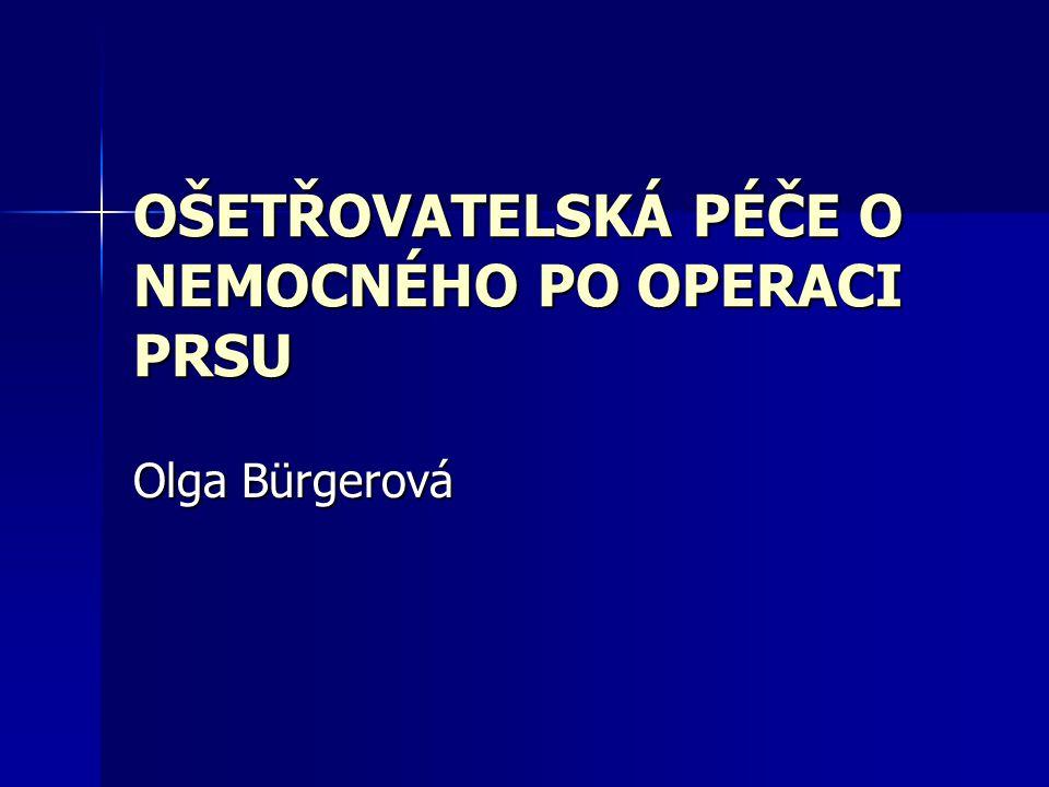 OŠETŘOVATELSKÁ PÉČE O NEMOCNÉHO PO OPERACI PRSU Olga Bürgerová