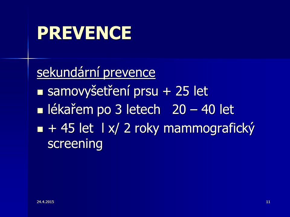 24.4.201511 PREVENCE sekundární prevence samovyšetření prsu + 25 let samovyšetření prsu + 25 let lékařem po 3 letech 20 – 40 let lékařem po 3 letech 2