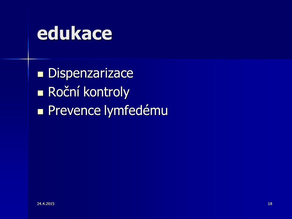 24.4.201518 edukace Dispenzarizace Dispenzarizace Roční kontroly Roční kontroly Prevence lymfedému Prevence lymfedému