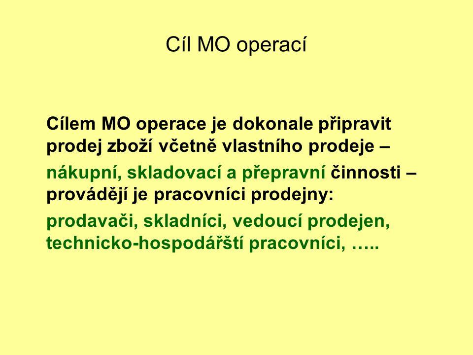 Cíl MO operací Cílem MO operace je dokonale připravit prodej zboží včetně vlastního prodeje – nákupní, skladovací a přepravní činnosti – provádějí je pracovníci prodejny: prodavači, skladníci, vedoucí prodejen, technicko-hospodářští pracovníci, …..