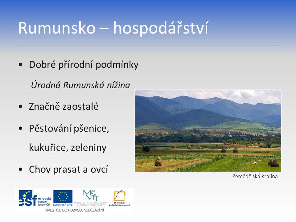 Rumunsko – hospodářství Dobré přírodní podmínky Úrodná Rumunská nížina Značně zaostalé Pěstování pšenice, kukuřice, zeleniny Chov prasat a ovcí Zemědě