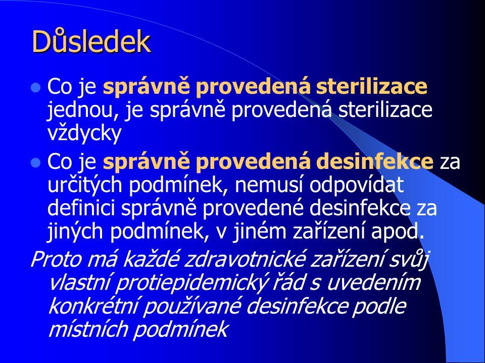 Důsledek Co je správně provedená sterilizace jednou, je správně provedená sterilizace vždycky Co je správně provedená desinfekce za určitých podmínek, nemusí odpovídat definici správně provedené desinfekce za jiných podmínek, v jiném zařízení apod.