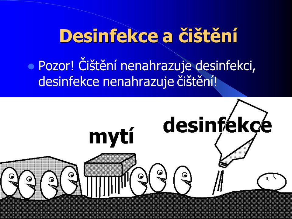 Desinfekce a čištění Pozor! Čištění nenahrazuje desinfekci, desinfekce nenahrazuje čištění!
