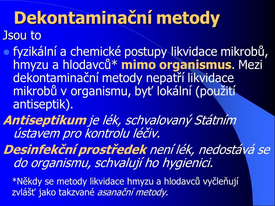 Dekontaminační metody Jsou Jsou to fyzikální a chemické postupy likvidace mikrobů, hmyzu a hlodavců* mimo organismus.