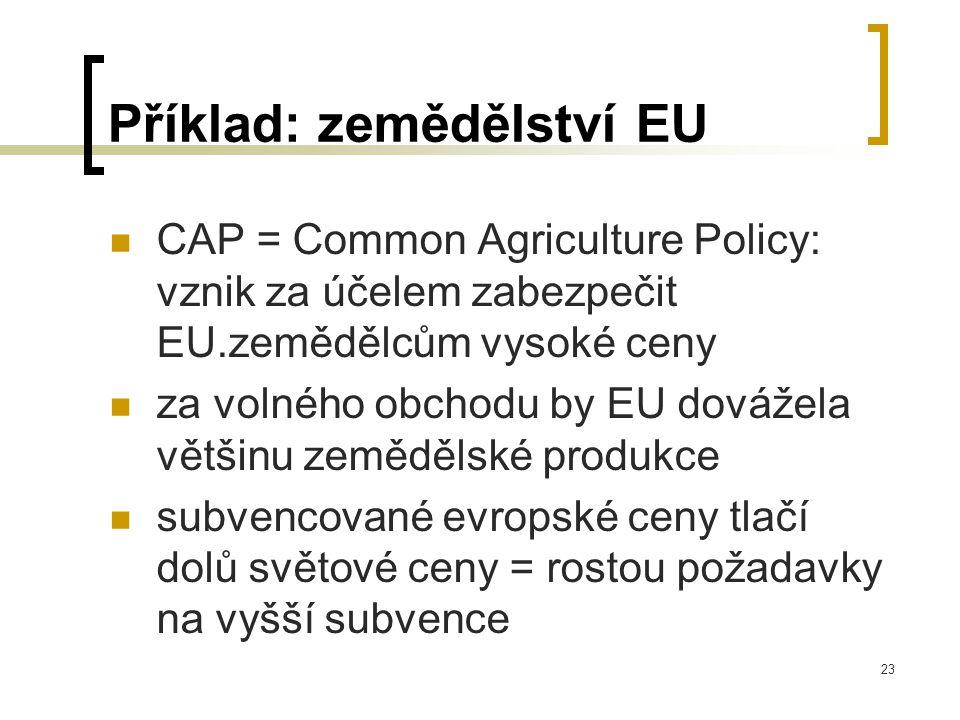23 Příklad: zemědělství EU CAP = Common Agriculture Policy: vznik za účelem zabezpečit EU.zemědělcům vysoké ceny za volného obchodu by EU dovážela většinu zemědělské produkce subvencované evropské ceny tlačí dolů světové ceny = rostou požadavky na vyšší subvence