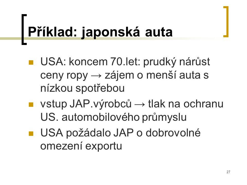 27 Příklad: japonská auta USA: koncem 70.let: prudký nárůst ceny ropy → zájem o menší auta s nízkou spotřebou vstup JAP.výrobců → tlak na ochranu US.
