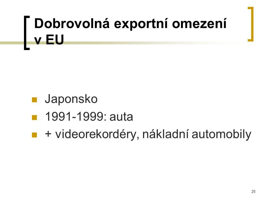 28 Dobrovolná exportní omezení v EU Japonsko 1991-1999: auta + videorekordéry, nákladní automobily