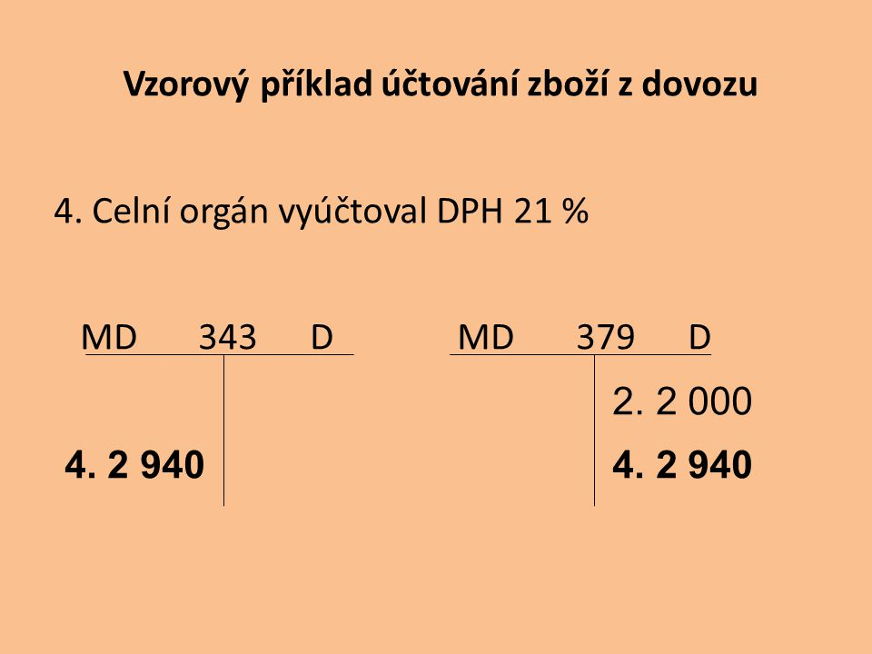 Vzorový příklad účtování zboží z dovozu 4. Celní orgán vyúčtoval DPH 21 % MD 343 D MD 379 D 2. 2 000 4. 2 940 4. 2 940