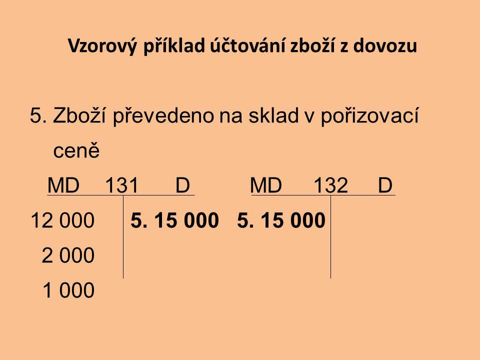 Vzorový příklad účtování zboží z dovozu 5. Zboží převedeno na sklad v pořizovací ceně MD 131 D MD 132 D 12 000 5. 15 000 5. 15 000 2 000 1 000