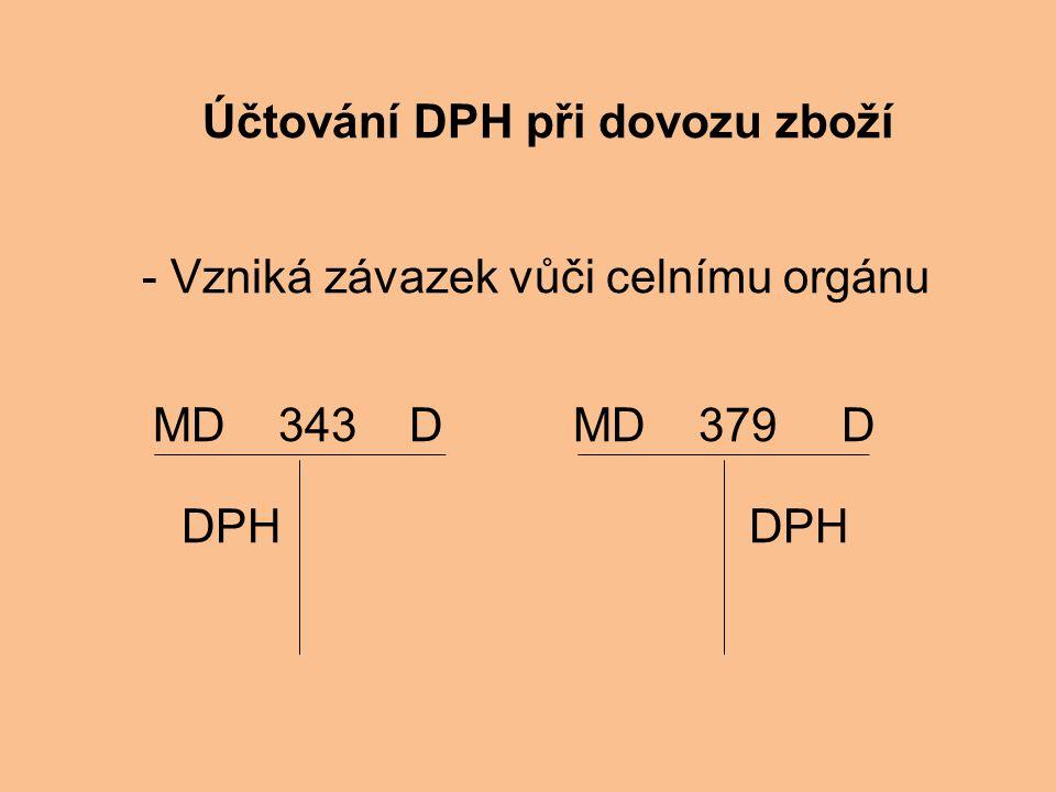 Účtování DPH při dovozu zboží - Vzniká závazek vůči celnímu orgánu MD 343 D MD 379 D DPH DPH
