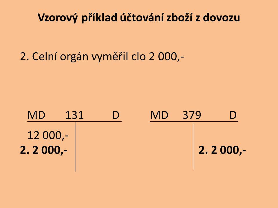Vzorový příklad účtování zboží z dovozu 2. Celní orgán vyměřil clo 2 000,- MD 131 D MD 379 D 12 000,- 2. 2 000,- 2. 2 000,-