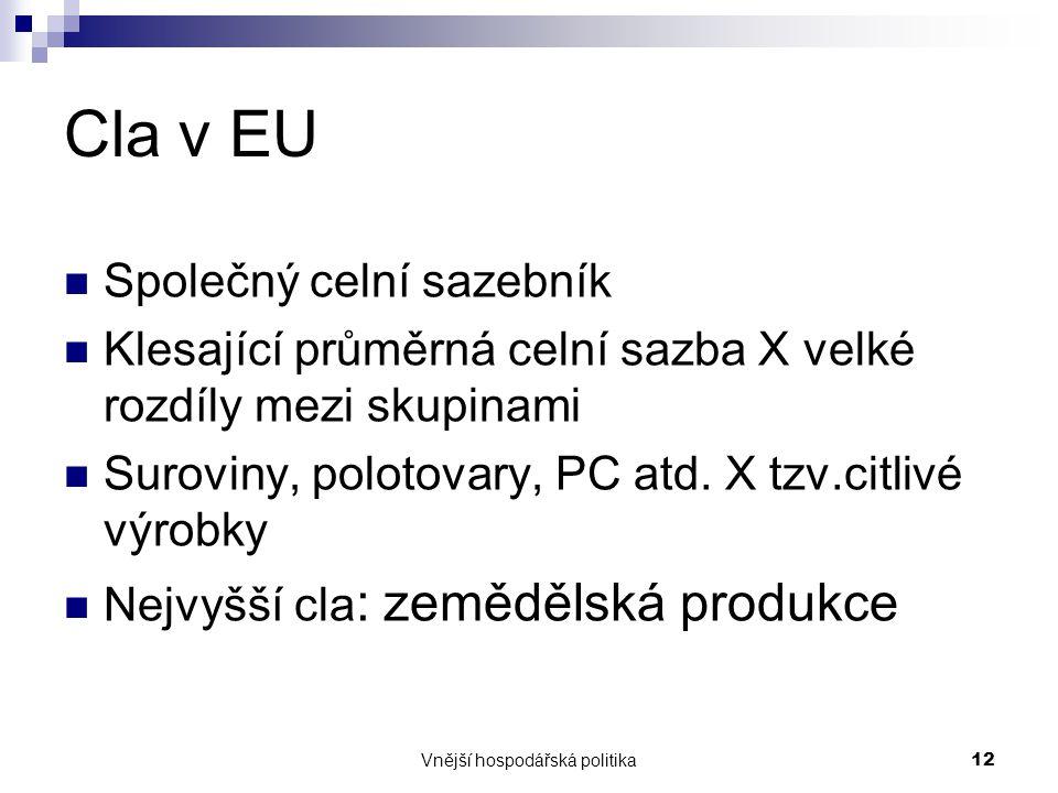 Vnější hospodářská politika12 Cla v EU Společný celní sazebník Klesající průměrná celní sazba X velké rozdíly mezi skupinami Suroviny, polotovary, PC