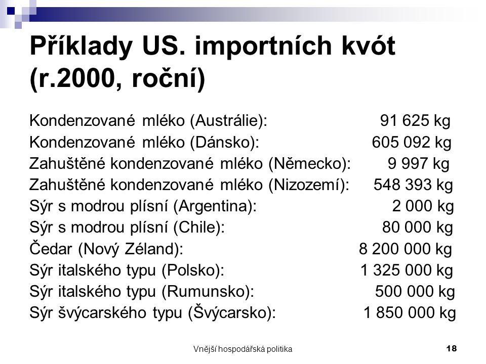 Vnější hospodářská politika18 Příklady US. importních kvót (r.2000, roční) Kondenzované mléko (Austrálie): 91 625 kg Kondenzované mléko (Dánsko): 605