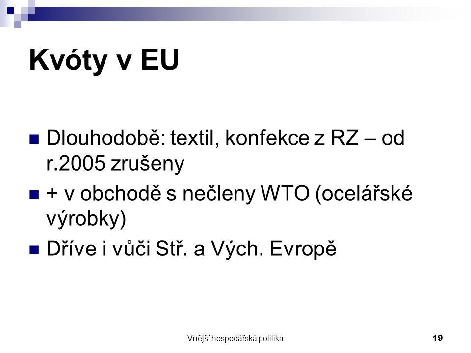 Vnější hospodářská politika19 Kvóty v EU Dlouhodobě: textil, konfekce z RZ – od r.2005 zrušeny + v obchodě s nečleny WTO (ocelářské výrobky) Dříve i v