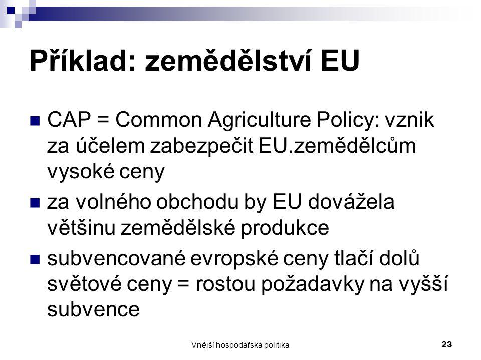 Vnější hospodářská politika23 Příklad: zemědělství EU CAP = Common Agriculture Policy: vznik za účelem zabezpečit EU.zemědělcům vysoké ceny za volného