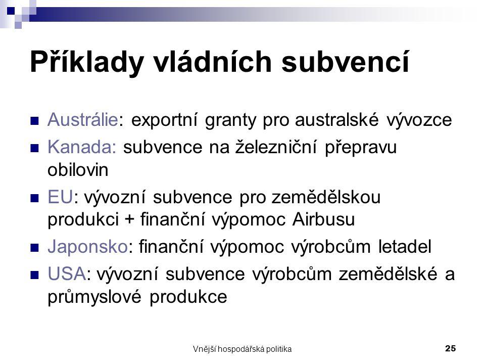 Vnější hospodářská politika25 Příklady vládních subvencí Austrálie: exportní granty pro australské vývozce Kanada: subvence na železniční přepravu obi