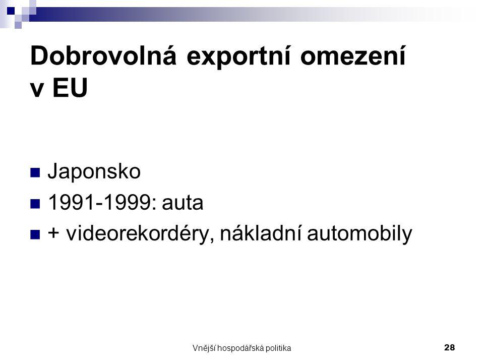 Vnější hospodářská politika28 Dobrovolná exportní omezení v EU Japonsko 1991-1999: auta + videorekordéry, nákladní automobily