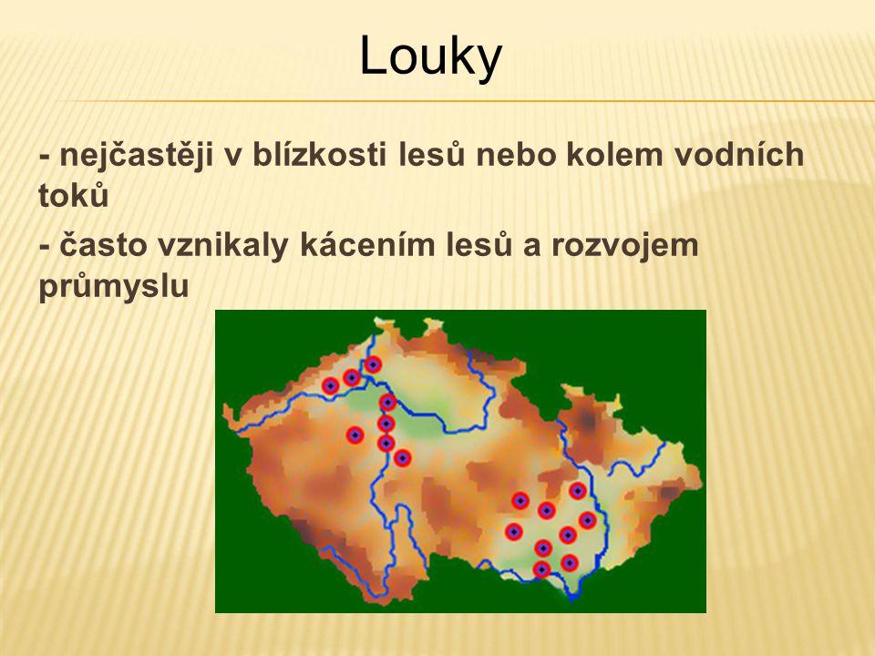 - nejčastěji v blízkosti lesů nebo kolem vodních toků - často vznikaly kácením lesů a rozvojem průmyslu Louky