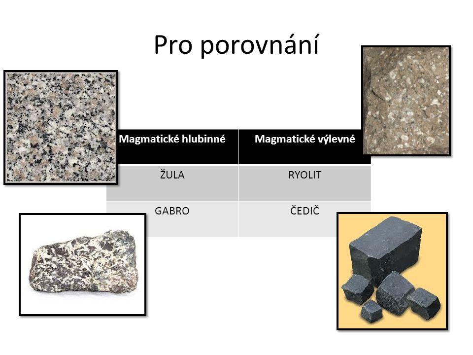 Pro porovnání Magmatické hlubinnéMagmatické výlevné ŽULARYOLIT GABROČEDIČ