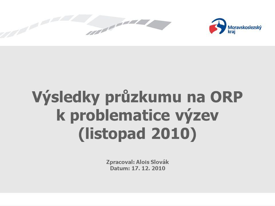 Výsledky průzkumu na ORP k problematice výzev Výsledky průzkumu na ORP k problematice výzev (listopad 2010) Zpracoval: Alois Slovák Datum: 17.