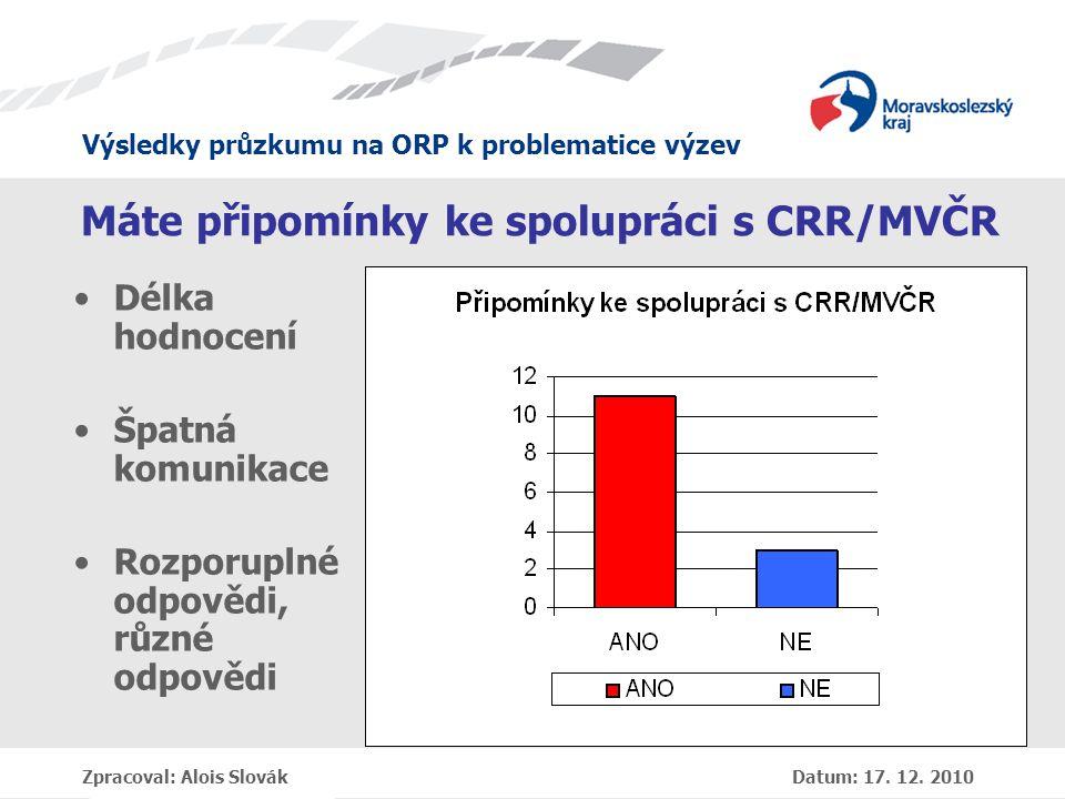 Výsledky průzkumu na ORP k problematice výzev Zpracoval: Alois Slovák Datum: 17.