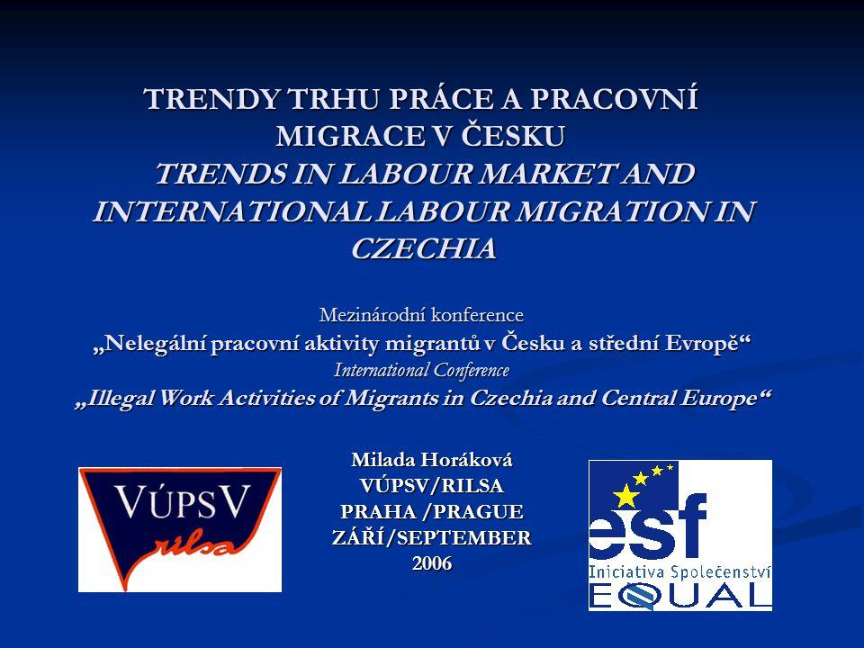MEZINÁRODNÍ PRACOVNÍ MIGRACE V ČR INTERNATIONAL LABOUR MIGRATION IN THE CR Stav k 30.6.2006/As at 30 June, 2006 Celková zaměstnanost cizinců /Total Employment of Foreigners: 229 931 (4,21 % of the CR labour force) 1.
