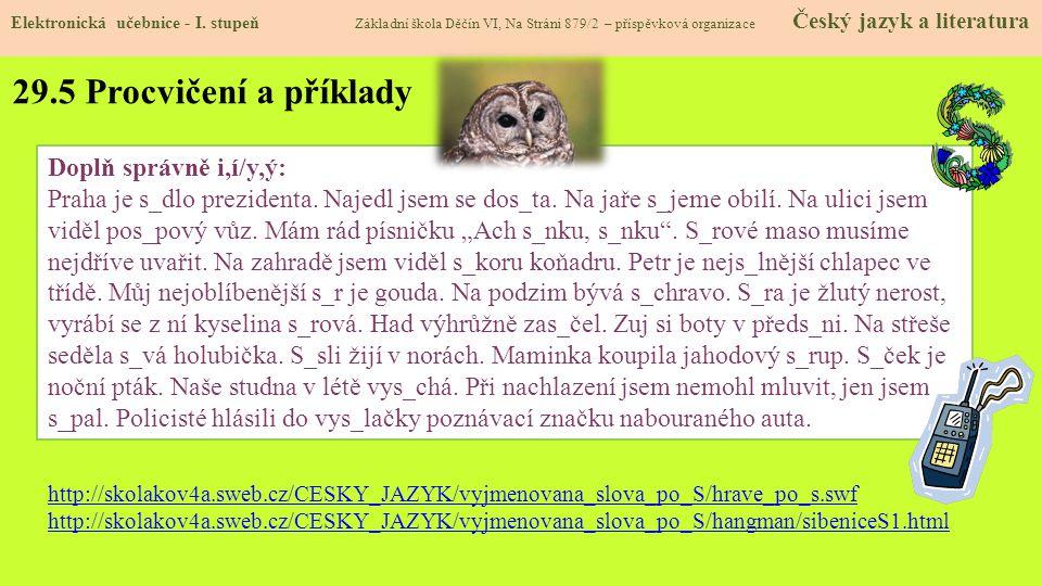 29.5 Procvičení a příklady Elektronická učebnice - I.