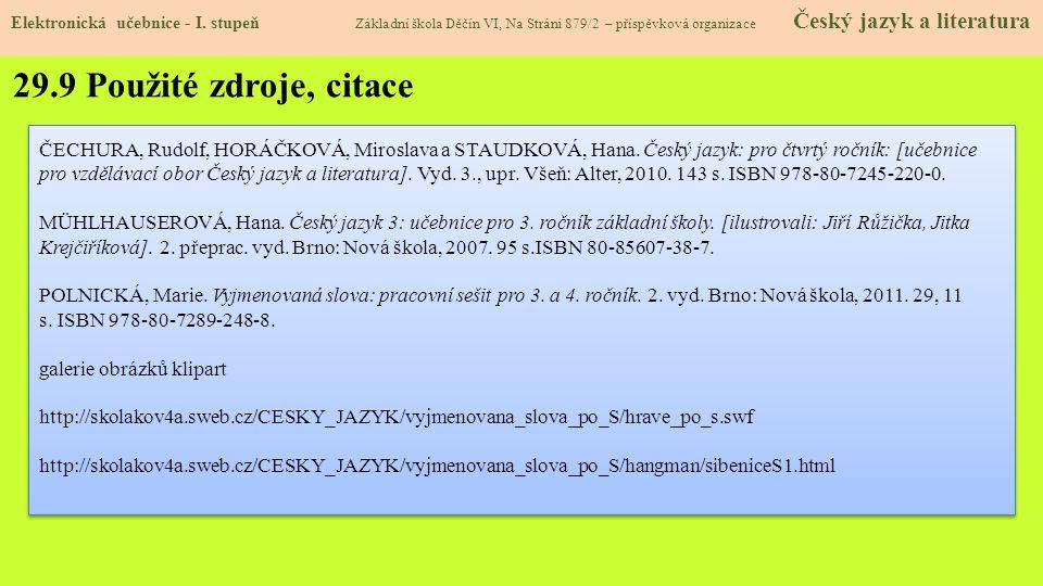 29.9 Použité zdroje, citace Elektronická učebnice - I.