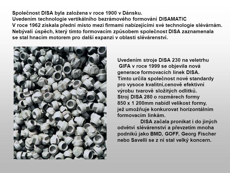 Společnost DISA byla založena v roce 1900 v Dánsku. Uvedením technologie vertikálního bezrámového formování DISAMATIC V roce 1962 získala přední místo