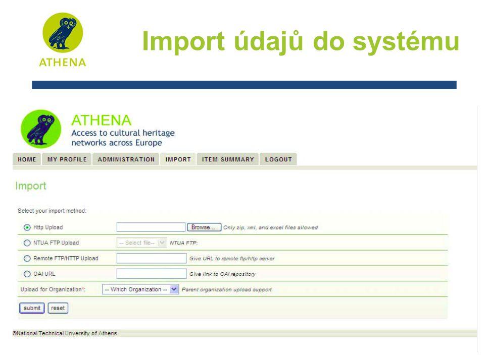 Import údajů do systému