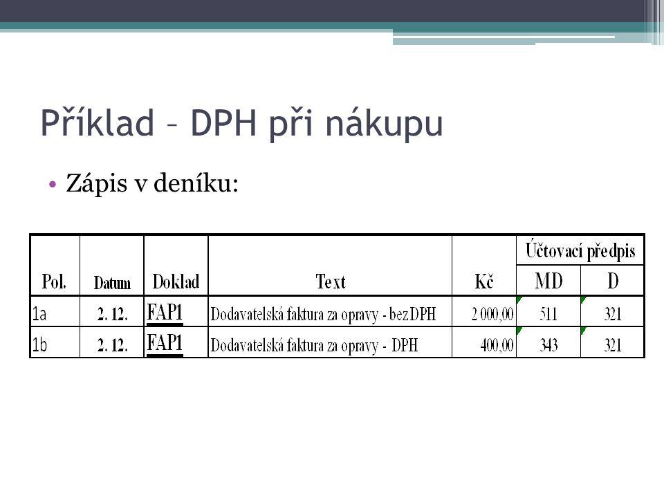 Příklad – DPH při nákupu - složený účetní zápis