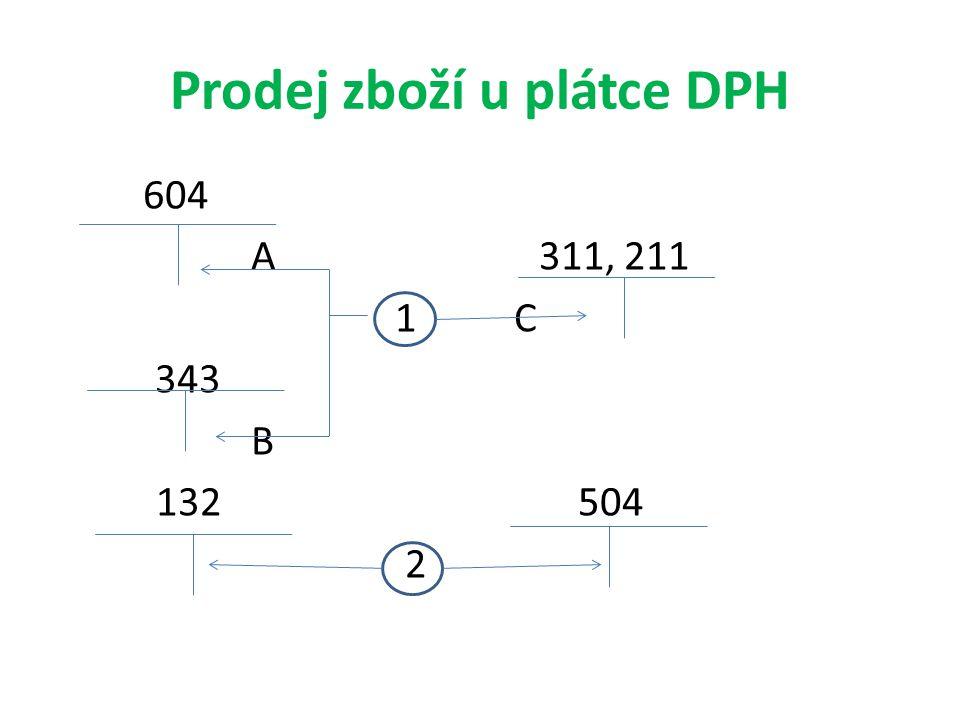 Prodej zboží u plátce DPH 604 A311, 211 1 C 343 B 132 504 2