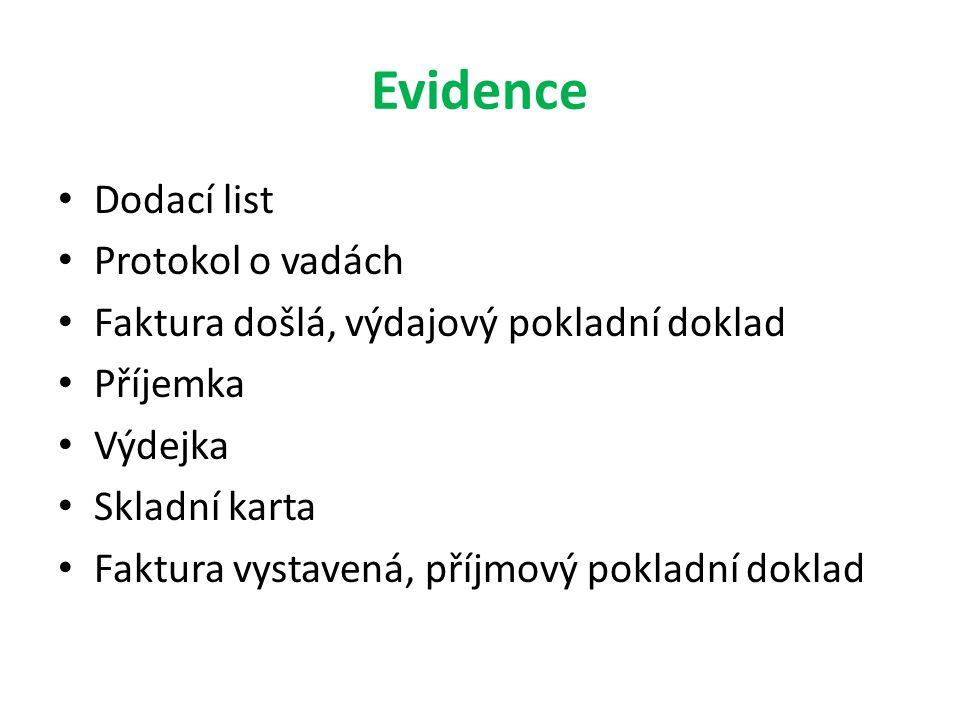 Evidence Dodací list Protokol o vadách Faktura došlá, výdajový pokladní doklad Příjemka Výdejka Skladní karta Faktura vystavená, příjmový pokladní dok