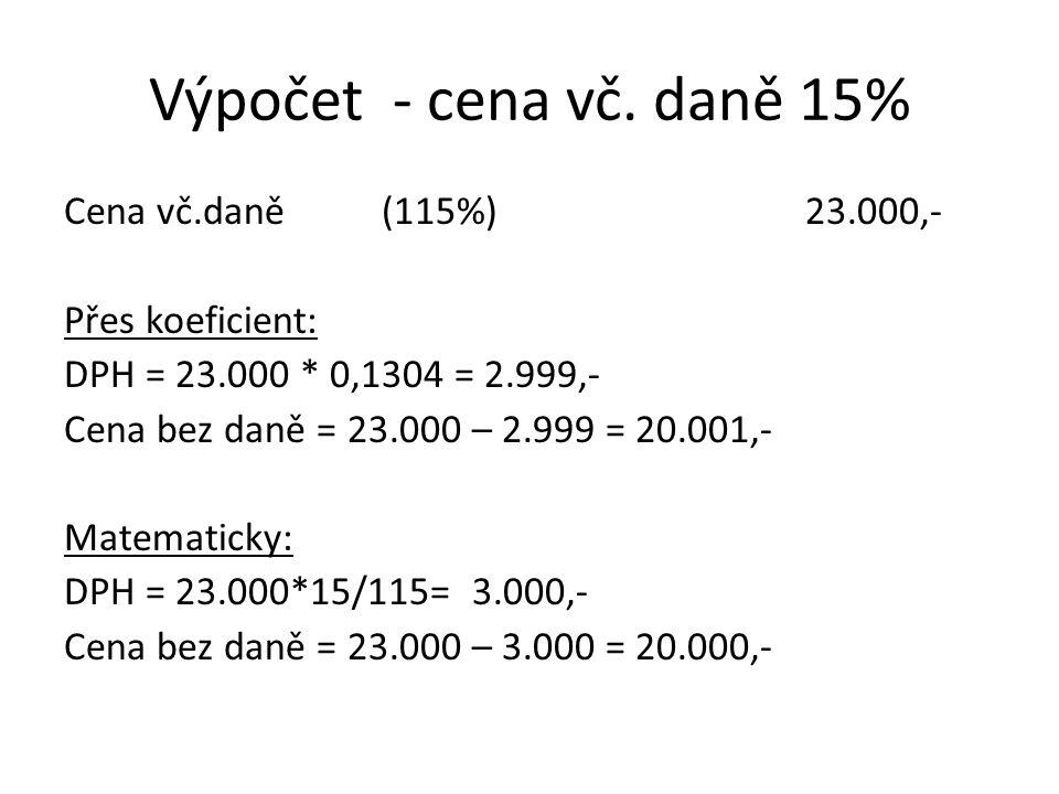 Výpočet - cena vč. daně 15% Cena vč.daně(115%)23.000,- Přes koeficient: DPH = 23.000 * 0,1304 = 2.999,- Cena bez daně = 23.000 – 2.999 = 20.001,- Mate
