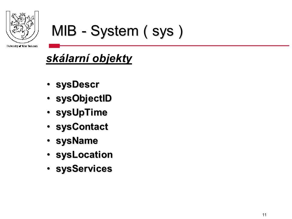 11 MIB - System ( sys ) sysDescrsysDescr sysObjectIDsysObjectID sysUpTimesysUpTime sysContactsysContact sysNamesysName sysLocationsysLocation sysServicessysServices skálarní objekty