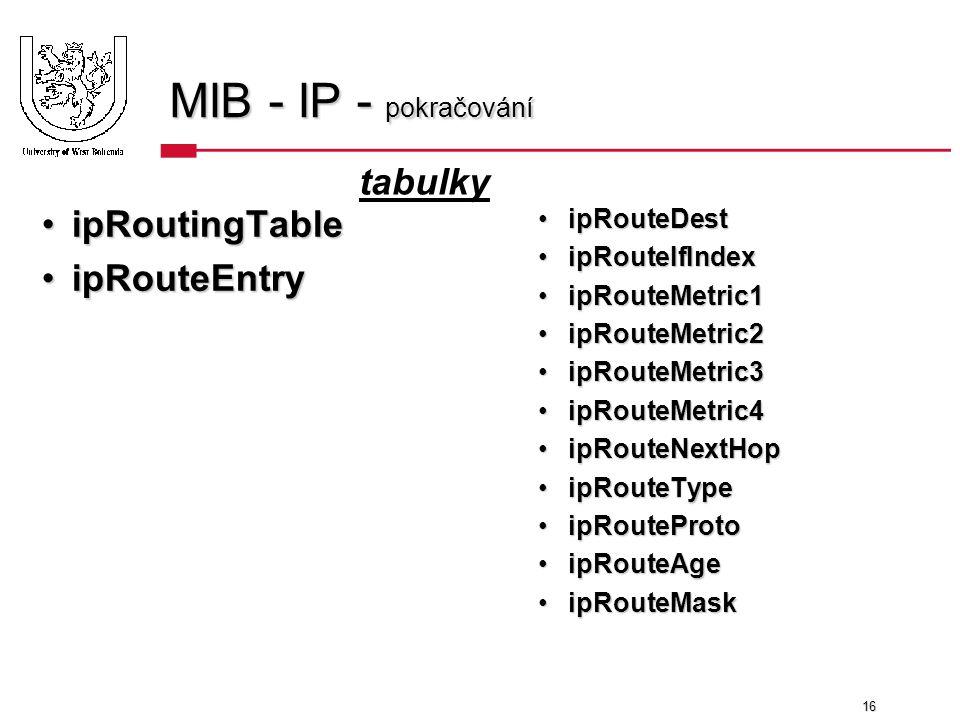 16 MIB - IP - pokračování ipRoutingTableipRoutingTable ipRouteEntryipRouteEntry ipRouteDestipRouteDest ipRouteIfIndexipRouteIfIndex ipRouteMetric1ipRouteMetric1 ipRouteMetric2ipRouteMetric2 ipRouteMetric3ipRouteMetric3 ipRouteMetric4ipRouteMetric4 ipRouteNextHopipRouteNextHop ipRouteTypeipRouteType ipRouteProtoipRouteProto ipRouteAgeipRouteAge ipRouteMaskipRouteMask tabulky