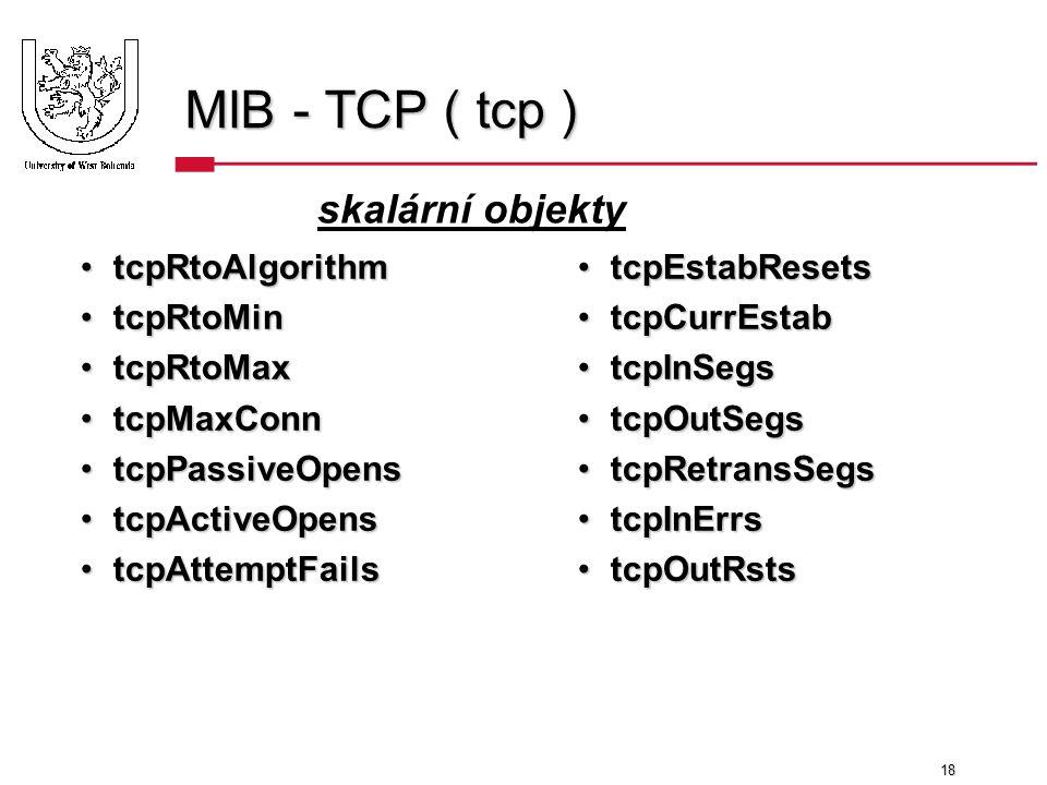 18 MIB - TCP ( tcp ) tcpRtoAlgorithmtcpRtoAlgorithm tcpRtoMintcpRtoMin tcpRtoMaxtcpRtoMax tcpMaxConntcpMaxConn tcpPassiveOpenstcpPassiveOpens tcpActiveOpenstcpActiveOpens tcpAttemptFailstcpAttemptFails tcpEstabResetstcpEstabResets tcpCurrEstabtcpCurrEstab tcpInSegstcpInSegs tcpOutSegstcpOutSegs tcpRetransSegstcpRetransSegs tcpInErrstcpInErrs tcpOutRststcpOutRsts skalární objekty