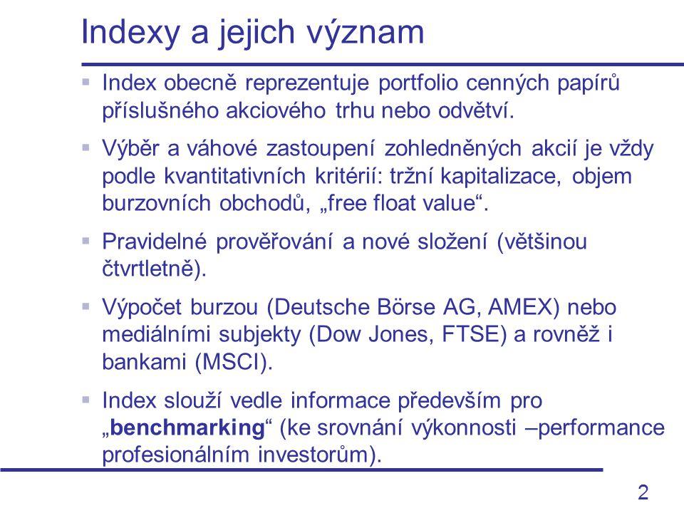 2  Index obecně reprezentuje portfolio cenných papírů příslušného akciového trhu nebo odvětví.  Výběr a váhové zastoupení zohledněných akcií je vždy