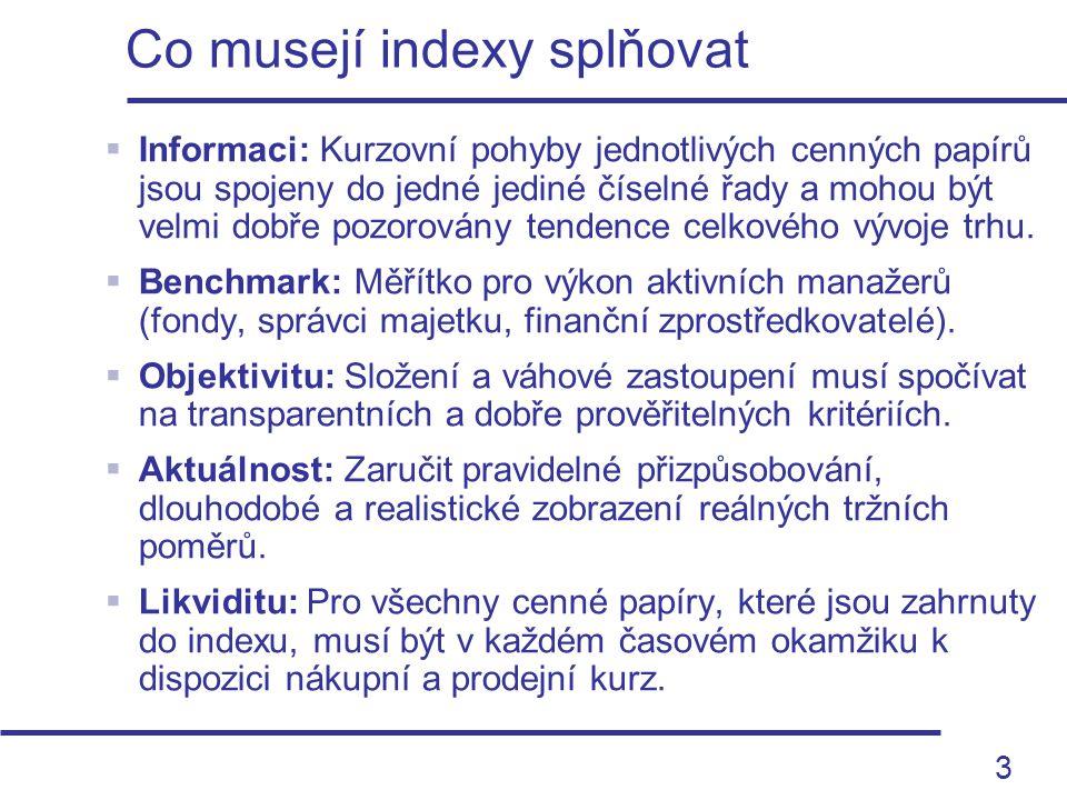 3 Co musejí indexy splňovat  Informaci: Kurzovní pohyby jednotlivých cenných papírů jsou spojeny do jedné jediné číselné řady a mohou být velmi dobře