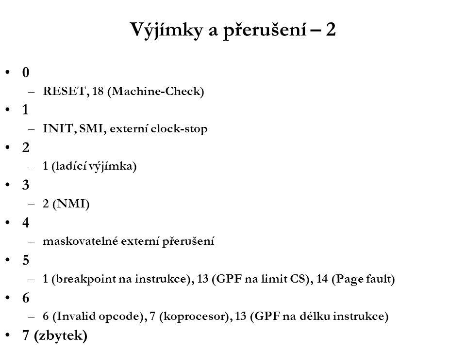 Výjímky a přerušení – 2 0 –RESET, 18 (Machine-Check) 1 –INIT, SMI, externí clock-stop 2 –1 (ladící výjímka) 3 –2 (NMI) 4 –maskovatelné externí přerušení 5 –1 (breakpoint na instrukce), 13 (GPF na limit CS), 14 (Page fault) 6 –6 (Invalid opcode), 7 (koprocesor), 13 (GPF na délku instrukce) 7 (zbytek)