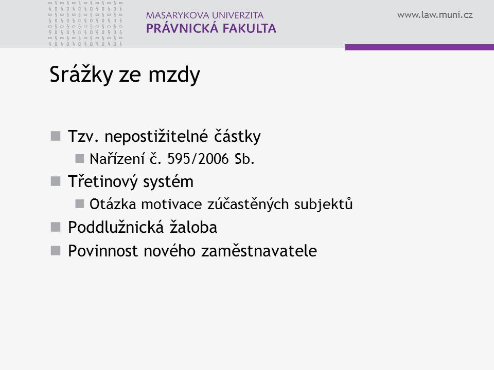 www.law.muni.cz Srážky ze mzdy Tzv.nepostižitelné částky Nařízení č.