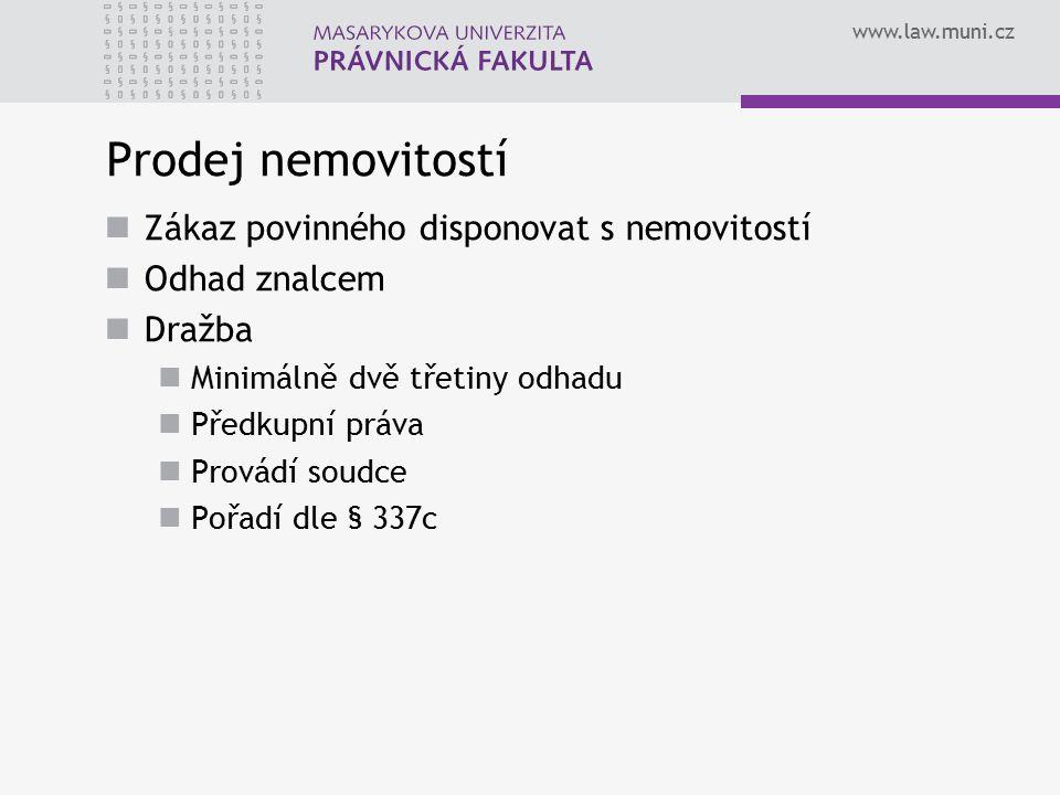 www.law.muni.cz Prodej nemovitostí Zákaz povinného disponovat s nemovitostí Odhad znalcem Dražba Minimálně dvě třetiny odhadu Předkupní práva Provádí soudce Pořadí dle § 337c