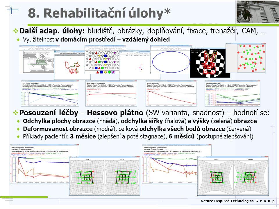 Nature Inspired Technologies G r o u p 8. Rehabilitační úlohy*  Další adap. úlohy: bludiště, obrázky, doplňování, fixace, trenažér, CAM, …  Využitel