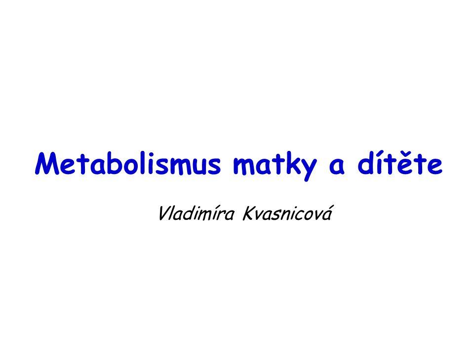 Metabolismus matky a dítěte Vladimíra Kvasnicová