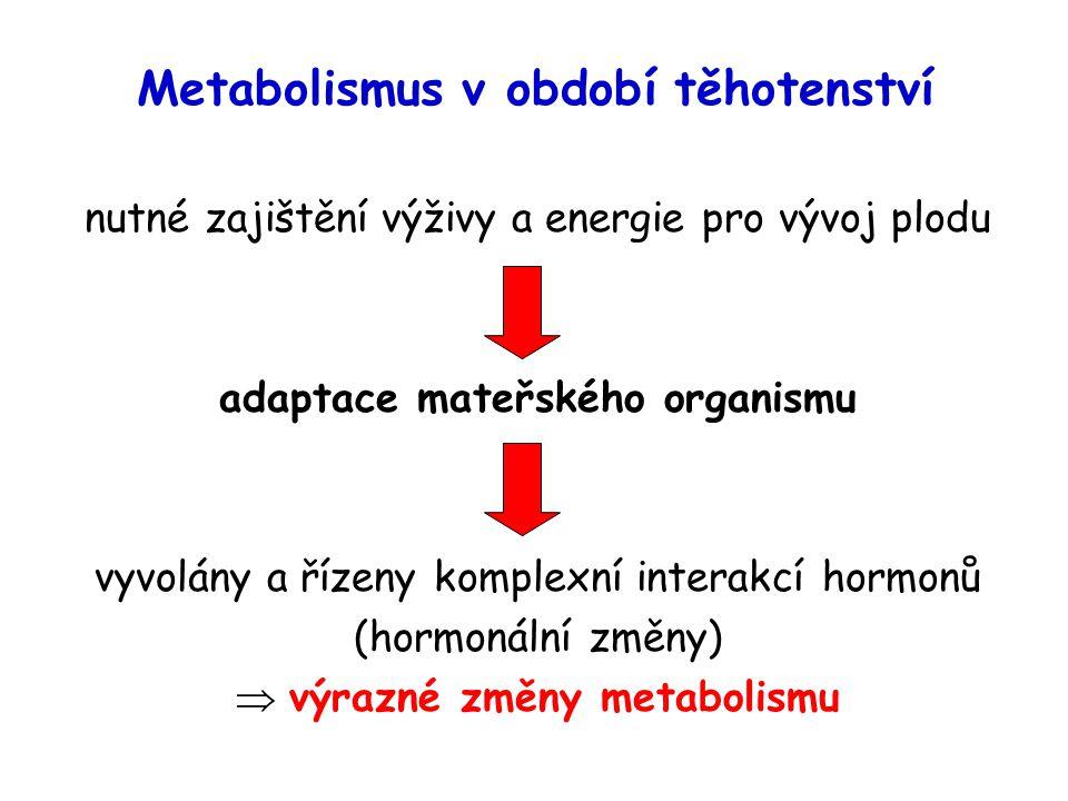 Metabolismus v období těhotenství nutné zajištění výživy a energie pro vývoj plodu adaptace mateřského organismu vyvolány a řízeny komplexní interakcí hormonů (hormonální změny)  výrazné změny metabolismu