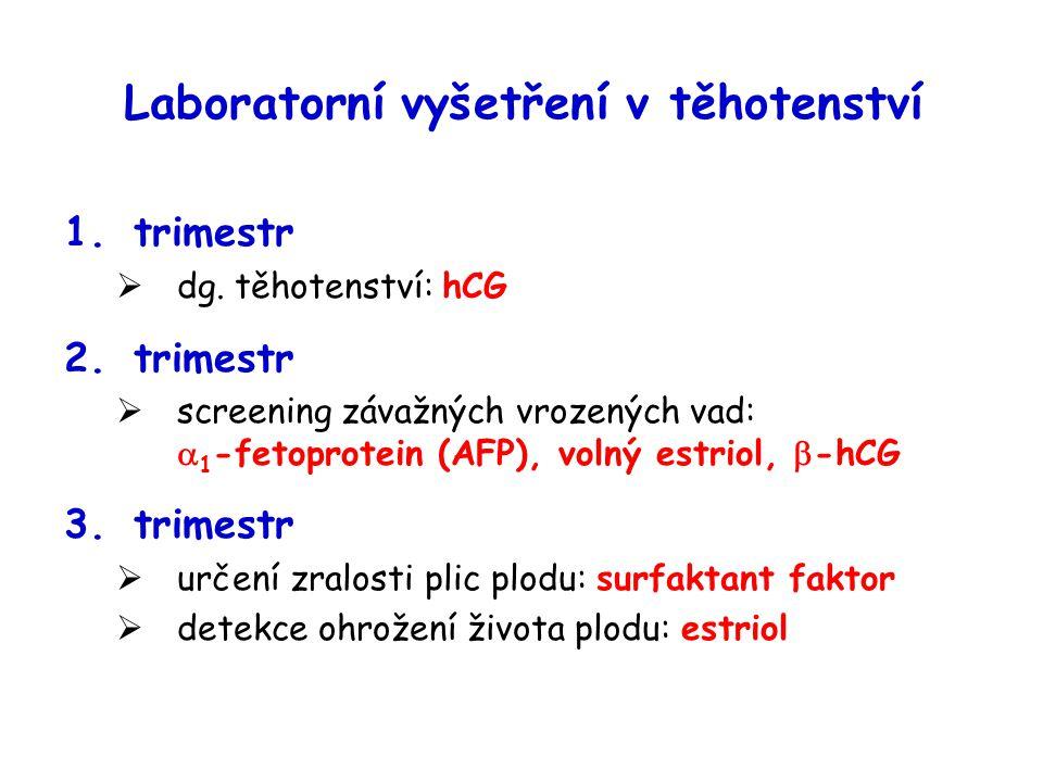 Laboratorní vyšetření v těhotenství 1.trimestr  dg. těhotenství: hCG 2.trimestr  screening závažných vrozených vad:  1 -fetoprotein (AFP), volný es